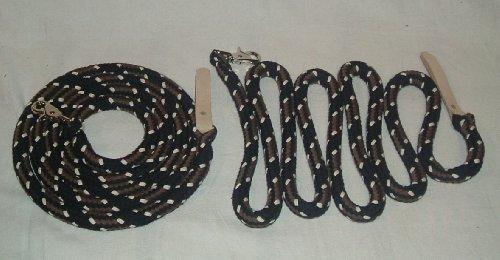 Westernzügel Split Reins, extra schwer, geteilt je 2,20 mtr schwarz/braun/natur