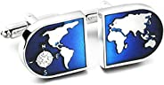 Yellow Chimes Exclusive Collection World Map Designer Cuff Links by Yellow Chimes Silver Plated Cufflink for M