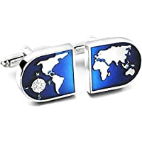 Yellow Chimes Exclusive Collection World Map Designer Cuff Links by Yellow Chimes Silver Plated Cufflink for Men