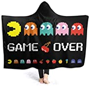 Korlav Arcade Video Game Throw Blanket,Flannel Blanket Bedding Wearable Blanket Hooded