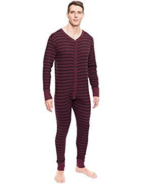 Noble Mount Tuta Intera Termica Intima Union Suit in Waffle Knit da Uomo