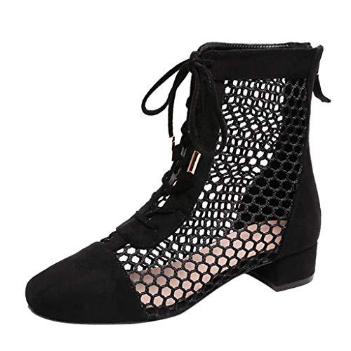 Kaister Dame Sandalen Sommer Roman ausgehöhlt mit kurzen Stiefeln Riemen Damenschuhe Damen Keilsandalette Plateau Sandalette - Mops Kurze Stiefel