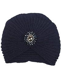 Fashion Womens Winter Warm Knit Crochet Ski Hat Braided Turban Headdress Cap  Navy f6453265578f