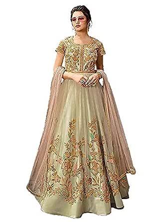 DR Fashion Women's Nylon Net Semi Stitched Salwar Suit Gowns (FREE SIZE, CREAM)