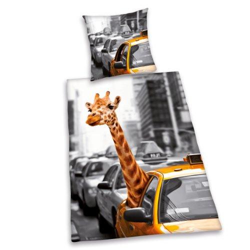 Herding 445943050 Bettwäsche New York Safari, Kopfkissenbezug: 80 x 80 cm + Bettbezug: 135 x 200 cm, 100 % Baumwolle, Renforce (Jugend-giraffe)
