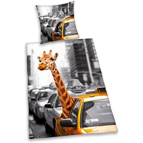 Herding 445943077 - Juego de cama (100% algodón, funda nórdica de 140 x 200 cm, funda de almohada de 70 x 90 cm), diseño de Safari en Nueva