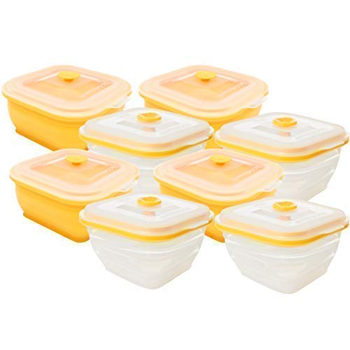 collapse-it Silikon Frischhaltedosen Collapse-it Silicone Food Storage Containers, 8-piece 2-cup Square Bowl Set - Oven, Microwave Freezer Safe Square Food Storage Set