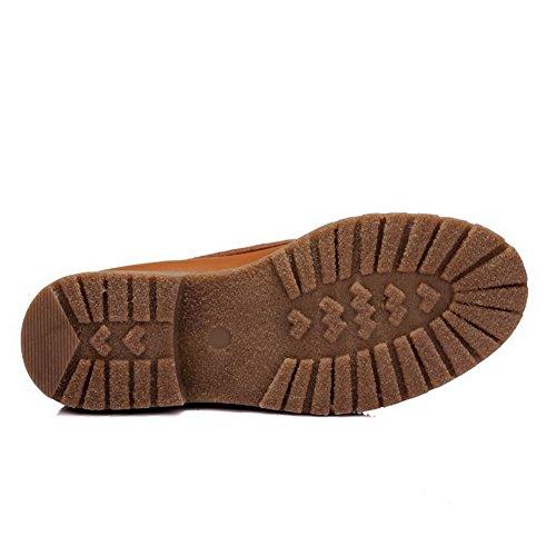 AllhqFashion Damen Rund Zehe Niedriger Absatz Niedrig-Spitze Gemischte Farbe Stiefel Braun
