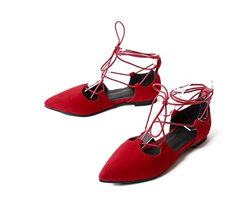 NobS Sandali Point Toe Large Size Scarpe Piane Cinturini Alla Caviglia Women Red
