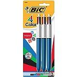 BIC MMP31 4-Color Kugelschreiber Retractable Pen, sortiert Tinte, Medium, 3 pro Packung