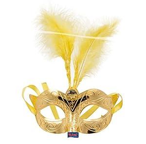 CREATIVE 1 Pieza máscara Veneciana, de plástico, de tamaño estándar, con resortes de Oro Rhinestone