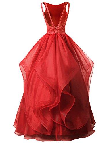 Dresstells Organza Bodenlang Abendkleider Abiballkleider Cocktail-Kleider Blush