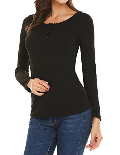 Modfine Damen Langarmshirt Oberteile Langarm Rundhals Bluse Casual Stretch Shirts mit Knopfleiste Schwarz