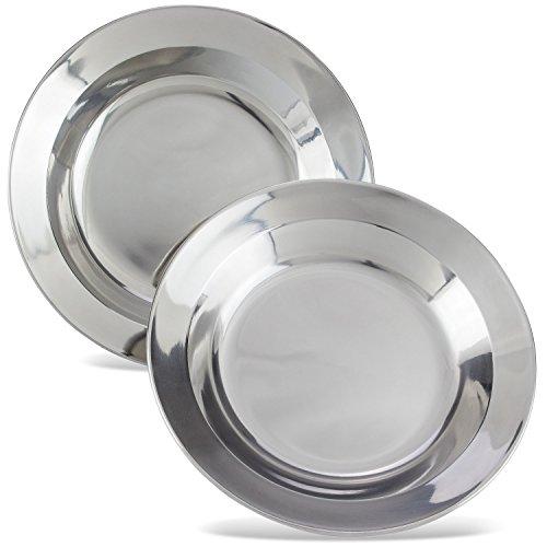 Camping platos, diámetro aprox. 22–24cm profundo de acero inoxidable (Set de 2o 4), - stainless steel