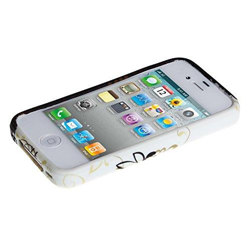 wortek buntes farbiges Silikon TPU Case Apple iPhone 4 / 4S Schutzhülle Blumen Weiß / Blau Blumenranke Weiß Braun