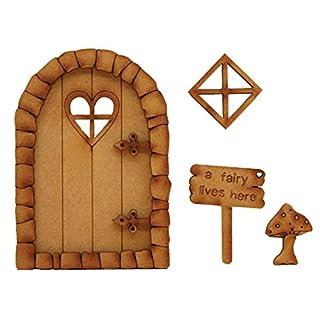 'Pebble'-Herz-Feentür.3D-Deko (dreidimensional) zur Selbstmontage; Holz-Feentür-Kit mit Holzblume und Pilzzubehör & Feen-Schild