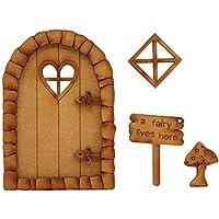 Corazón de piedra hada puerta. Tridimensional montaje de madera puerta de hadas Kit de manualidades con decoración para ventana, diseño de seta y hada Sign