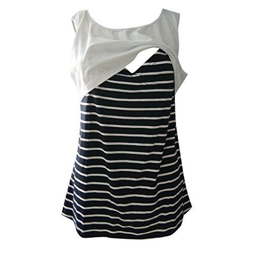 Amphia - Frauen Mutterschaft Ärmellos Oberteile Streifen Spleißen Pflege Baby Weste Kleidung - Ärmellose gestreifte stillende Weste der schwangeren Frauen ()