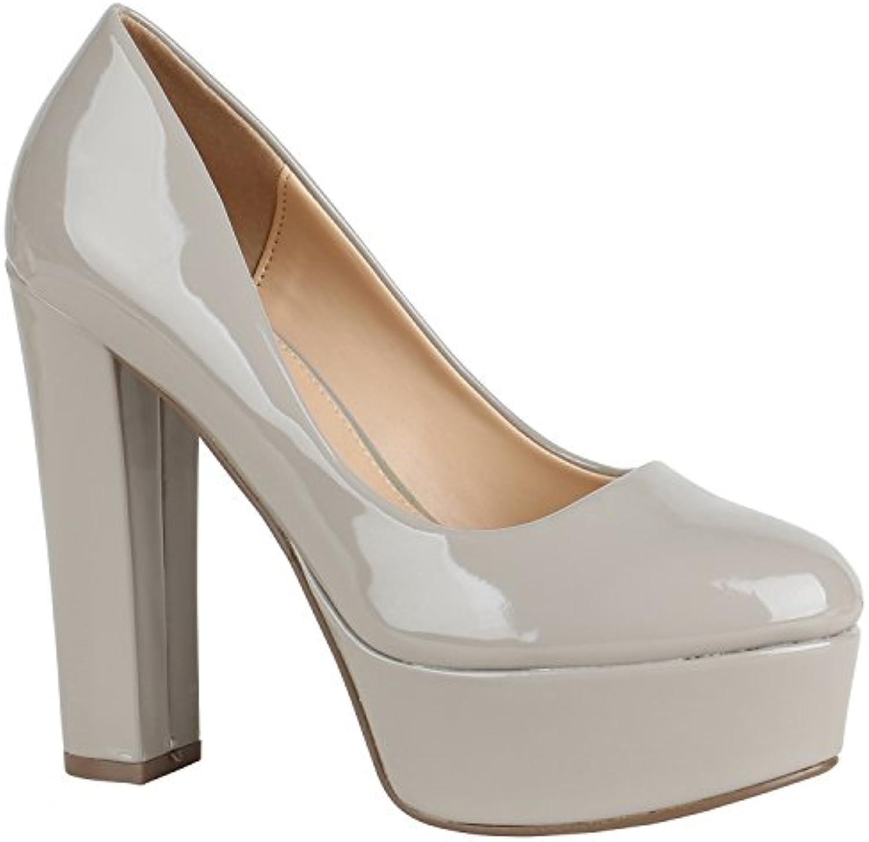 Stiefelparadies mit Damen Plateau Pumps mit Stiefelparadies Blockabsatz Lack Metallic Flandell 3c23e2