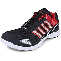 Columbus Men's Black & Red Mesh Shoes (8 UK)