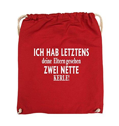 Comedy Bags - Ich hab letztens deine Eltern gesehen zwei nette Kerle! - Turnbeutel - 37x46cm - Farbe: Schwarz / Pink Rot / Weiss