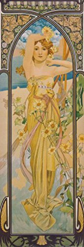 Set: Alphonse Mucha, Die Vier Tageszeiten, Der Tag, 1899 Poster Kunstdruck (91x30 cm) Inklusive 1x...