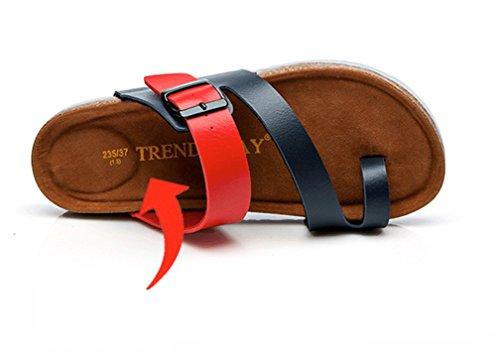 Unisex Adulto Sandali Sughero - Pantofole Estive - Scarpe Da Spiaggia - Con Fibbie Blu Rosso