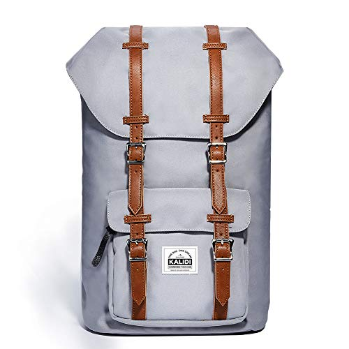 KALIDI 17 Zoll Laptop Rucksack Backpack Schulrucksack für bis zu 15.6 Zoll Laptop Notebook Computer Arbeit Campus Studenten Outdoor Reisen Wandern mit Großer Kapazität (Grau)
