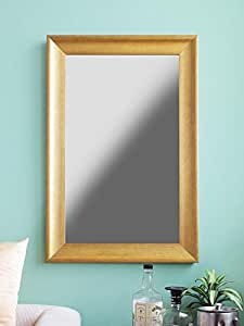 999Store Fiber Framed Decorative Wall Mirror or Bathroom Mirror Golden (30X20)