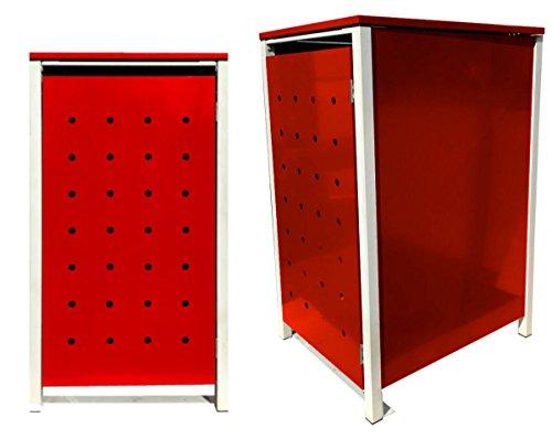 BBT@ | Hochwertige Mülltonnenbox für 1 Tonne mit 120 Liter mit Klappdeckel in Rot / Aus stabilem pulver-beschichtetem Metall / Stanzung 6 / In verschiedenen Farben sowie mit unterschiedlichen Blech-Stanzungen erhältlich / Mülltonnenverkleidung Müllboxen Müllcontainer