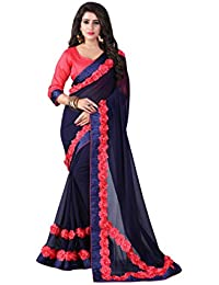 EVER NEW CREATION Women's Georgette Saree With Blouse Piece (EN22_Navy Blue_Free Size)