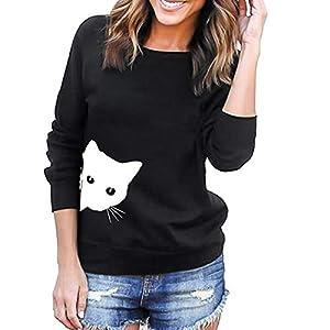 feiXIANG Bluse Damen Mode Elegant Katzen Sweatshirt Tunika Langärmeliges O-Ausschnitt Outwear Tops Herbst Winter