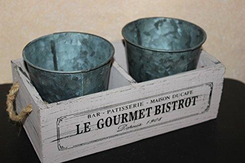 Caisse en bois avec 2 pots de zinc, dimensions extérieures 23,5 x 12,5 cm, h 11 cm, Couleur Vieux Rose
