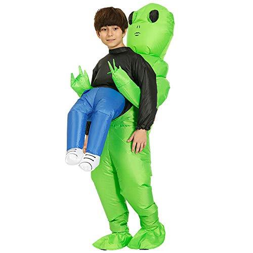 Jinui Aufblasbares Kostüm Grüner Alien, der menschliches Kostüm trägt Aufblasbarer lustiger Explosionsanzug, Halloween-Weihnachtsfest-Cosplay-Monsterkostüm (1pcs) (Human Pet Kostüm)