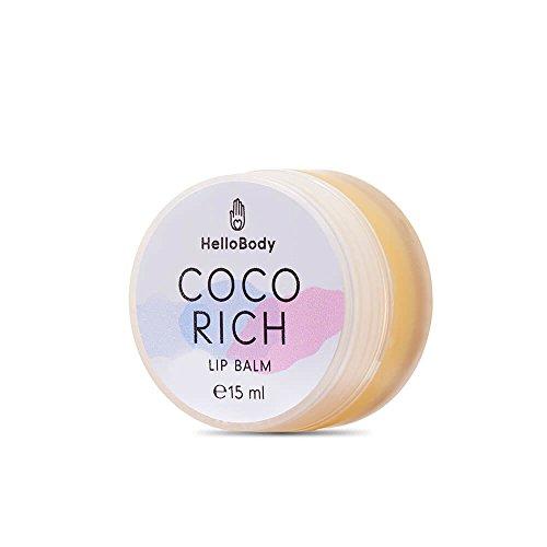 HelloBody Coco Rich Lip Balm (15mL) – soin des lèvres – baume à lèvres naturel pour des lèvres hydratées & charnues – huile de coco & d'olive, ka