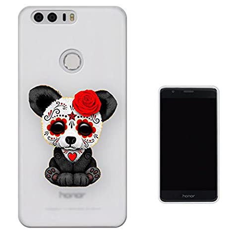 c1047 - Cool Emo Panda Sad Face Red Flower Face Paint Tattoo Design Huawei Honor 8 Fashion Trend Protecteur Coque Gel Rubber Silicone protection Case Coque