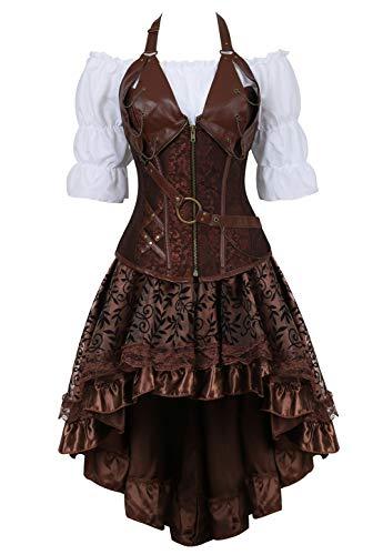 Grebrafan Steampunk Neckholder Corsage Kostüm mit asymmetrischer Spitzenrock und Bluse - für Karneval Fasching Halloween (EUR(36-38) L, Braun)