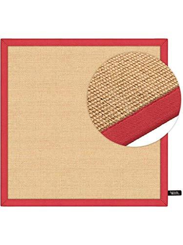 Benuta Alfombra de sisal con Cenefa | Alfombra de Fibra Natural para Piso y Salón, Rojo, 150x150 cm