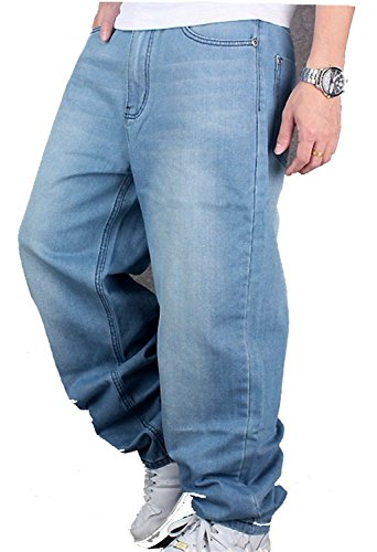 CYSTYLE Herren Hip Hop Jeanshose Hellbalu Hipster Style Baggy Jeans Rap Denim Straight Leg Loose Fit (W44=Asia 46) - Hipster Straight Leg Jean