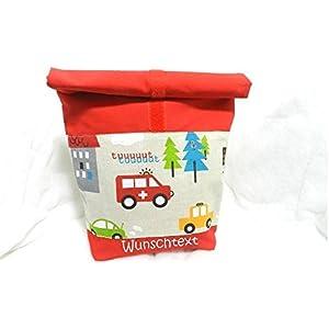 Lunchbox Lunchbag Fahrzeuge Brotbeutel personalisierbar für Kinder