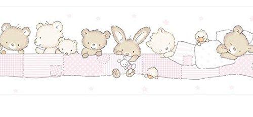 bordo-adesivo-590-2-treboli-colori-beige-rosa-bianco-con-orsetti-stelline-e-paperelle