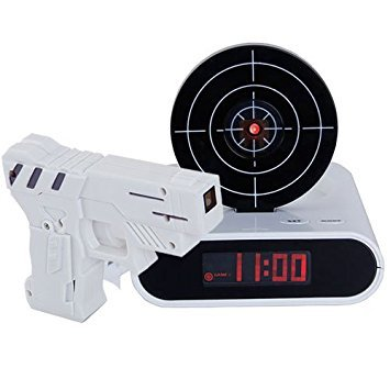 Reloj despertador, diseño pistola diana apagar alarma