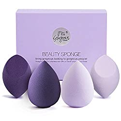 Make up sponge, Miss Gorgeous Make Up sponge, Blender Foundation Puff, 1 pack for (4 pieces) Foundation powder cream liquid, etc., with gift box