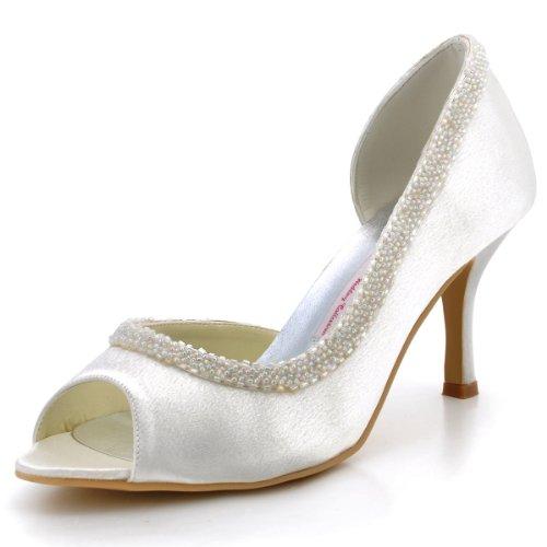 Elegantpark EL-005 Raso Peep toe Bead Strass Tacco Alto Scarpe da sposa Ballo Partito da Sera Avorio
