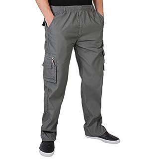 KRISP Männer Praktische Cargohose Gummizug Seitliche Taschen (Grau, Gr.XX-L) (7918-GRY-XXL)