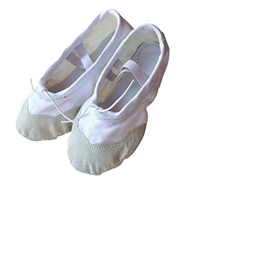 Baysa - Ballettschläppchen aus Leinengewebe mit Lederverstärkung - Weiss - Gr. 32