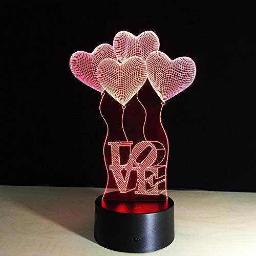 GUANGYING Luz Nocturna Lámpara De Mesa Colorida Amor Corazón Globo Regalo Romántico Para La Boda Esposa Amantes San Valentín 3D Bebé Noche Lámpara