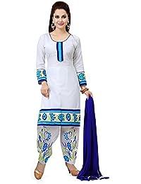 Zeel Fashion Women's Cotton Dress Material(FG85_White_Free Size)