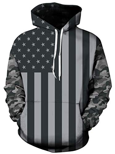 Ocean Plus Herren 3D Kapuzenpullover Hoodie Halloween Cosplay Sweatshirt Hooded Sweat Einzigartig Galaxie Pullover (XXL/3XL (Brustumfang: 126-146CM), Camouflage USA Flagge)