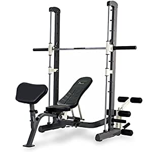 Tunturi Pure Compact Smith Machine Weight Bench With Folding Design Linear Ball Bearings